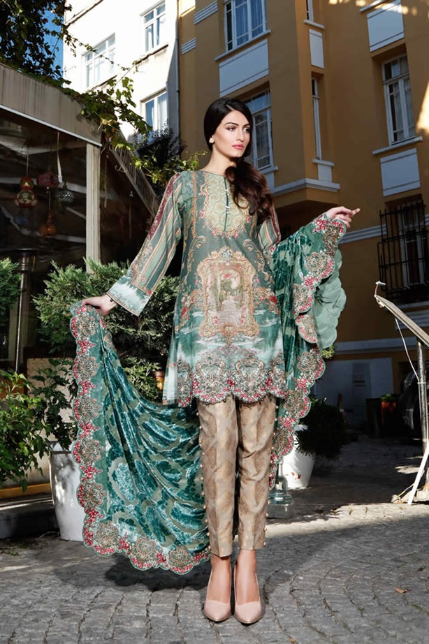 Maria B Latest Linen Dresses Collection For Winter 2017 18