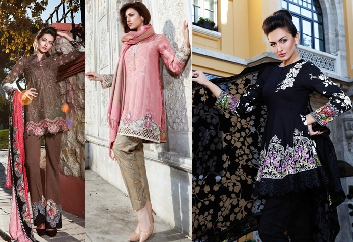 99a6173ac20a8 Maria B Latest Linen Dresses Collection For Winter 2017-18 - Libas  Collection